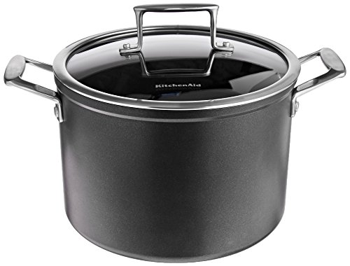KitchenAid KCH280SCKM Professional Hard Anodized Nonstick 8.0-Quart Stockpot with Lid Cookware - Black