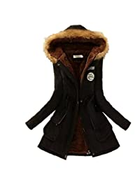 ForeMode Womens Hooded Warm Winter Coats Faux Fur Lined Parkas outdoor jacket