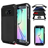 Seacosmo Shockproof Case for Galaxy S6 Edge, Military Rugged Heavy Duty Aluminum Shockproof Dual Layer Bumper Case, Black