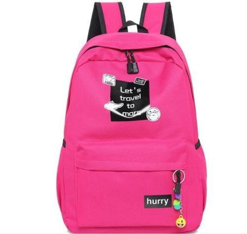 Cute Design 17'' Fashion Women Canvas School Bag Girl Backpack Travel Bag (ROSE RED) (Red Sea Mini Lab)