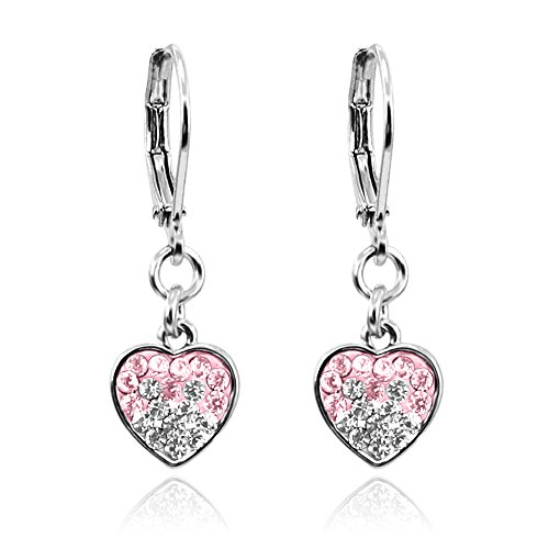 Dangle Earrings for Girls Jewelry WIth Crystal Heart Rhodium Plated- Best Christmas Gifts for Girls