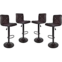 United Family Shop Vintage Bar Stools with Back Set of 4 Brown PU Leather 24 Inch to 32 Inch | Modern 360 Degree Adunited Ajustable Swivel Seat Barstools Hydraulic Chair Yoga eBook