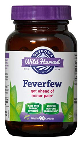 Oregon's Wild Harvest Non-GMO Feverfew (F.D.), Organic Herbal Supplements (Packaging May Vary), 90 Count