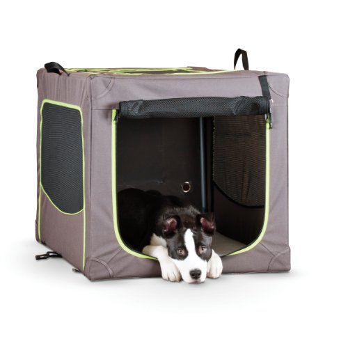 Medium Soft Crate (K&H Manufacturing Classy Go Soft Crate Medium Brown/Lime Green 20-Inch by)