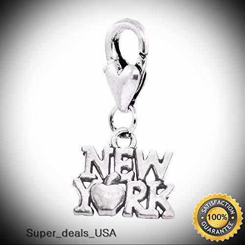 New York City Big Apple NY Manhattan Trip Lobster Clip Dangle Charm for Bracelet DIY Handmade Ornament Crafts