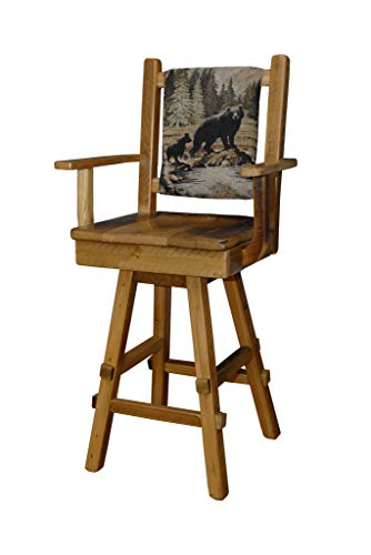 (Rustic Reclaimed Barn Wood Swivel Bar Stool w/Fabric Back & Scoop Seat-Set of 2)
