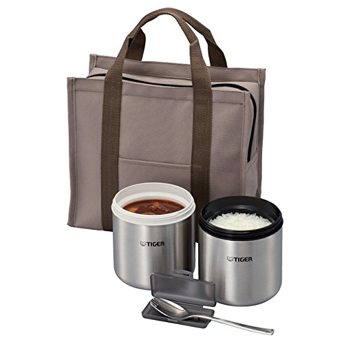 Tiger Corporation LWY-W046 2 Stainless Steel Thermal Lunch Jar with Insulated Tote