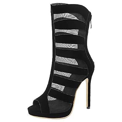 AicciAizzi Women Fashion Shoes Peep Toe Summer Boots High Heel Party Shoes High Top Lace Black Size 32 Asian