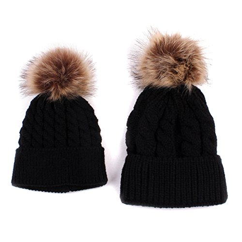 oenbopo 2PCS Parent-Child Hat Warmer, Mother & Baby Daughter/Son Winter Warm Knit Hat Family Crochet Beanie Ski Cap
