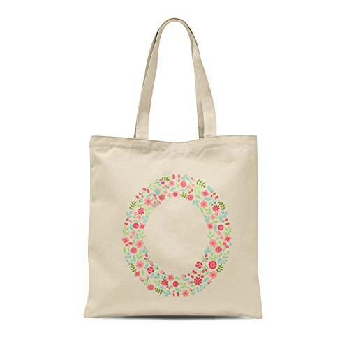 Present Any Letter O Shopper Gift Tote Birthday Alphabet Floral Letter Bag Personalised 7pzxP
