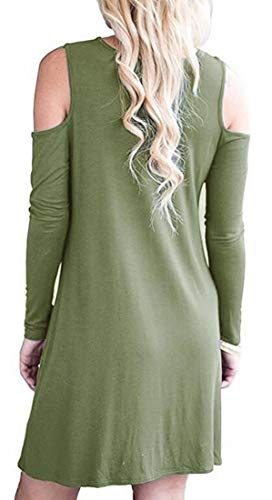 Long Green Round Army Cold Midi Solid Womens Casual Dress Domple Sleeve Neck Shoulder qE7wBAWTx