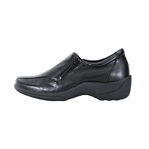Width Elegant Upper Threaded Leather Women Black Wide Designed Durable Shoes Hour Vera 24 Work Slip On Comfort xq8XYPg