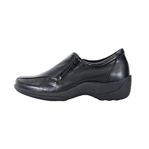 Women Threaded 24 Hour Wide Black Upper Elegant Slip Work Shoes Vera Leather Comfort Width Designed Durable On 1t8nxtqg4