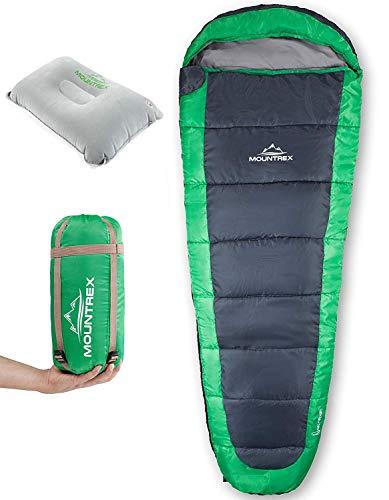 MOUNTREX® Schlafsack – Ultraleicht & Kompakt (850g) – Outdoor Sommerschlafsack – Mumienschlafsack (205x75cm) – Kleines…