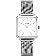CLUSE LA TÉTRAGONE Silver Mesh White CL60001 Women's Watch 29mm Square Dial Stainless Steel Strap Minimalistic Design Casual Dress Japanese Quartz Precision