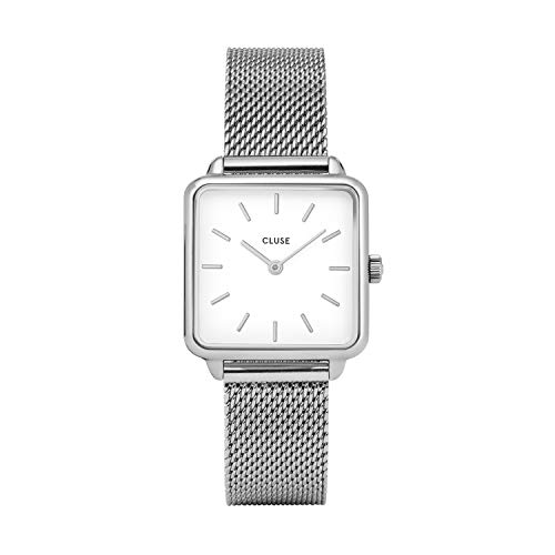 (CLUSE LA TÉTRAGONE Silver Mesh White CL60001 Women's Watch 29mm Square Dial Stainless Steel Strap Minimalistic Design Casual Dress Japanese Quartz Precision)