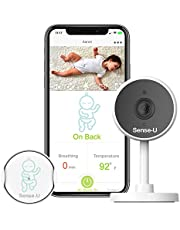 Sense-U Baby Monitor with Breathing Rollover Movement Temperature Sensors: Track Your Baby's Breathing, Rollover, Temperature(2019 Updated Version)