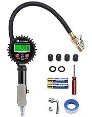 VETOMILE - Digitaler Reifendruckmesser Reifendruckprüfer Manometer mit Display ( 0-200 psi / 0-14 bar, 360°drehbares Kugelgelenk, Hintergrundbeleuchtung, für KFZ, Motorrad, Fahrrad, SUV,wohnwagen , ATV )