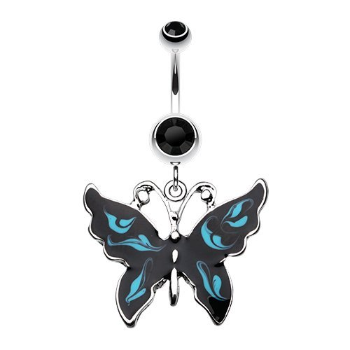Marble Butterfly 316L Surgical Steel Belly Button Ring (Black/Blue)