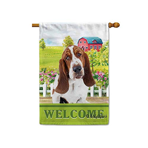 BAGEYOU Welcome A Lovely Dog Basset Hound in The Country House Flag for Outside Beautiful Rustic Rural Landscape Red House Flowers Home Decor Banner 28X40 Inch Print Double Sided