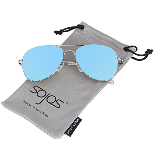 SOJOS Classic Aviator Mirrored Flat Lens Sunglasses Metal Frame with Spring Hinges SJ1030 with Silver Frame/Blue Mirrored Lens]()