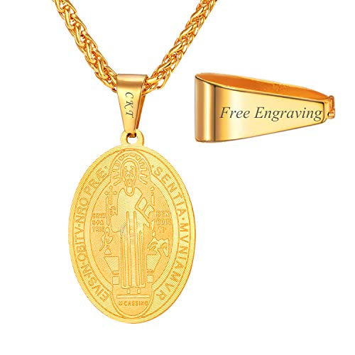 U7 Men Personalized Engraved Saint Benedict Medal Necklace Boys Catholic Jewelry 18K Gold Plated Stainless Steel Chain Oval Ward Off Protection Medal Pendant Necklaces, 22