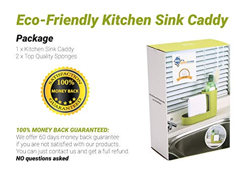 Convenient Kitchen Sink Organizer, Sink Caddy, Sinkware, Sponge Holder, Soap Dish, Brushes and Scrubbers Holder, Bathroom Caddy, Bathroom Organizer | 2 Top Quality Sponges FREE by SKA HomeStore (Image #5)