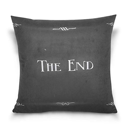 Dweobolufz Movie Ending Screen Decorative Square Throw Pillow Covers Home Decor Cushion Case for Sofa Bedroom Car 18 x 18 Inch 45 x 45 cm -