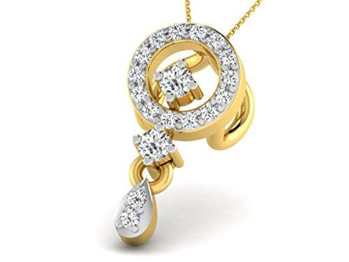 Or Jaune 14 ct Pendentifs Diamant , 0.07 Ct Diamant, GH-SI, 0.4 grammes.