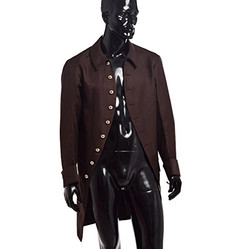 BLESSUME Colonial Men Coat Brown (Colonial Pirate Costume)