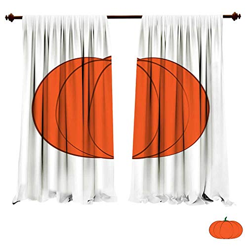 Blackout Room Darkening Curtains Halloween Isolated Pumpkin in Vector Autumn Dall Thanksgiving Food for Vegetarian Natural Seasonal Plant from Farm or Gard Light & Noise Insulated Window Draperies -