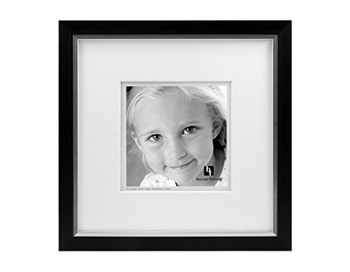 BorderTrends Legacy 10x10/6x6-Inch Photo Frame, Black with White Mat (Square Legacy)
