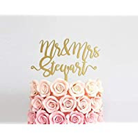 """Custom Wedding Cake Toppers Mr and Mrs Personalized Cake Topper Silver Gold Glitter Wood Cake Topper Rustic Wedding Surname Cake Topper 6-9"""""""