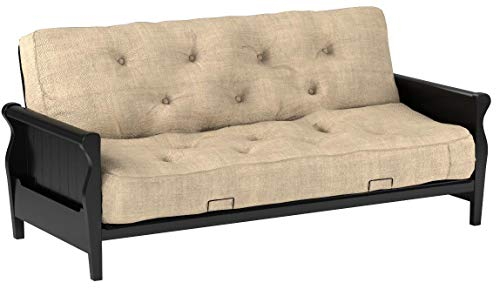 Better Homes and Gardens Wood Arm Futon with 8-Inch Coil Mattress, Oatmeal Linen