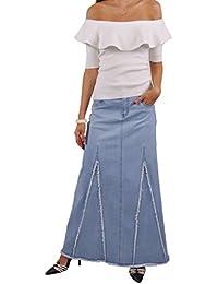 Sassy Fringed Long Denim Skirt