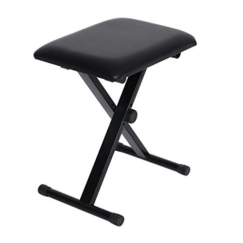 """Bench Piano Stand Keyboard - Portable Music Adjustable 3-Positions Stool Chair Seat Size 15.7"""" (L) x 11.8""""(W) Black New"""