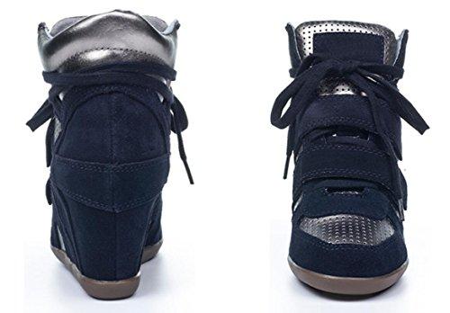 Baskets À Talons Hauts Cachés Femmes, Compensées En Cuir Chaussures Décontractées Chaussures 6 Couleurs Taille 5.5-7.5 Bleu Marine