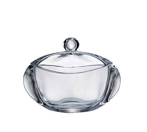 Barski - European Quality Glass - Lead Free - Crystalline - Oval - Covered - Candy Dish - Jewelry Box - 7