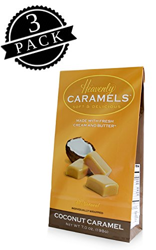 J Morgan Confections Heavenly Caramels, Coconut Flavor (7 oz bag, 3-Pack); Gourmet, Artisan Soft and Chewy Butter Caramel Candies, Creamy and Smooth, Hand-Crafted Golden Treats