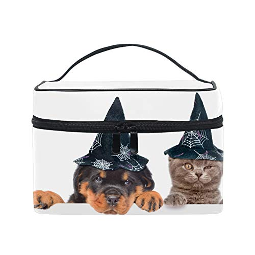 Toiletry Bag Multifunction Cosmetic Bag Portable Makeup Pouch Travel Hanging Organizer Bag for Women Halloween Rottweiler And Cat