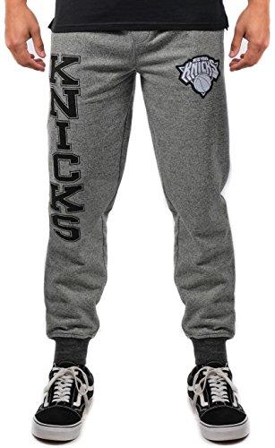 NBA New York Knicks Men's Jogger Pants Varsity Stripe Marl Fleece Sweatpants, Small, Black Marl