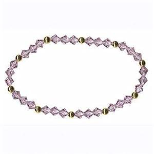 Pulsera de perlas de cristales Swarovski LILA -{24} quilates bañado en oro