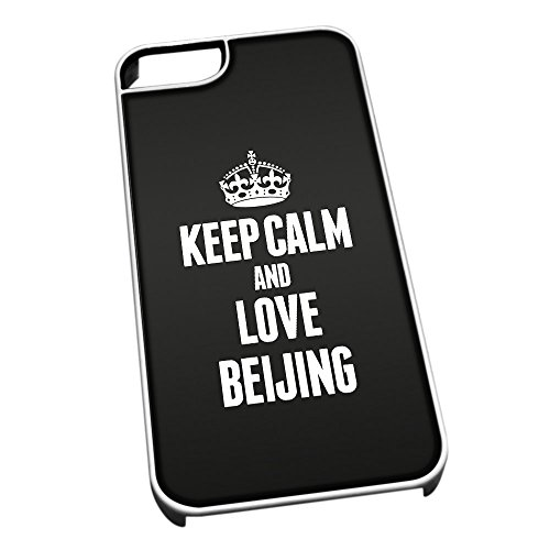 Bianco cover per iPhone 5/5S 2317nero Keep Calm and Love Beijing