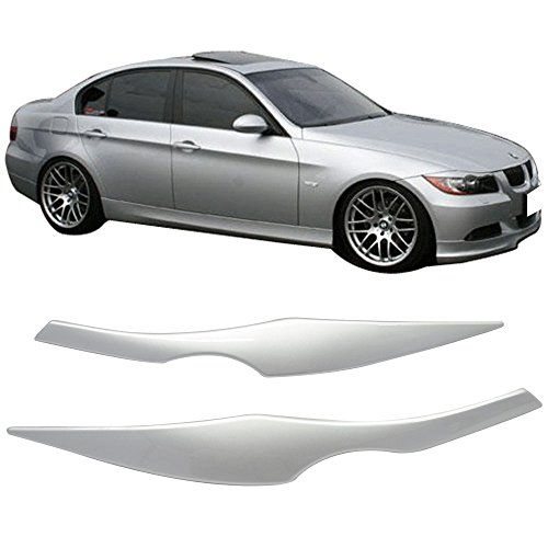Pre-painted Eyelid Fits 2006-2011 3 Series E90 | ABS Painted #354 Titanium Silver Headlight Eyelid Eyebrow Other Color Available By IKON MOTORSPORTS | 2007 2008 2009 2010 ()