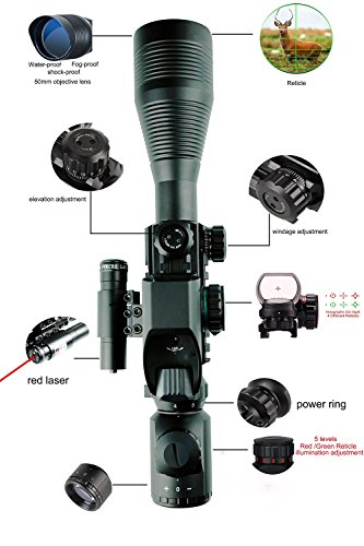 Aipa-Ar15-Scope-4-12x50EG-Dual-illuminated-Rifle-Scope-Optics-Red-Laser-Holographic-4-Reticle-Red-and-Green-Dot-Sight-for-2211mm-WeaverPicatinny-Rail-Mount