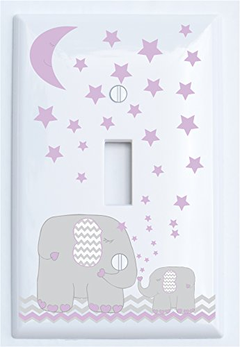 Purple Elephant Light Switch Plate and Outlet Covers with Purple Moon and Stars/Elephant Nursery Decor with Grey and Purple Chevrons. (Single Toggle)