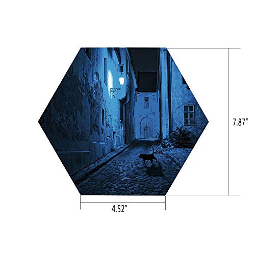 PTANGKK Hexagon Wall Sticker,Mural Decal,Urban,Black Cat Crossing Deserted Street at Night Mysterious Old European Town Alley,Blue Black White,for Home Decor 4.52x7.87 10 -