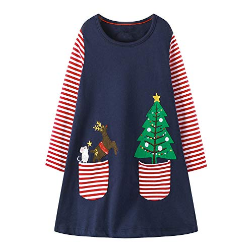 HILEELANG Toddler Girl Christmas Dress Reindeer Xmas Tree Gifts Winter Tunic Dresses with Pocket