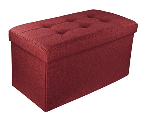 Red Co. Upholstered Folding Storage Ottoman with Padded Seat, 30 x 16 x 16 – Burgundy