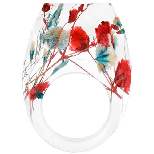 Jude Jewelers Fashion Clear Transparent Acrylic Resin Dry Flower Cocktail Party Ring (Red, 8)